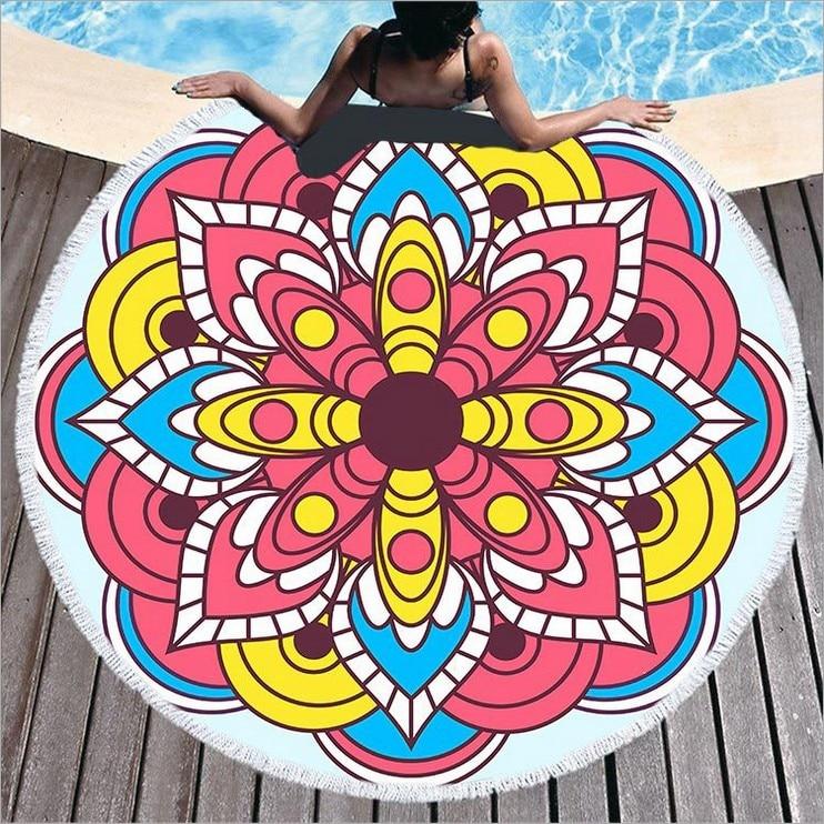 Mandala ronda de toallas de playa bohemio geométrico círculo toalla de ducha de baño con cordón bolsa de almacenamiento de Yoga Mat toalla