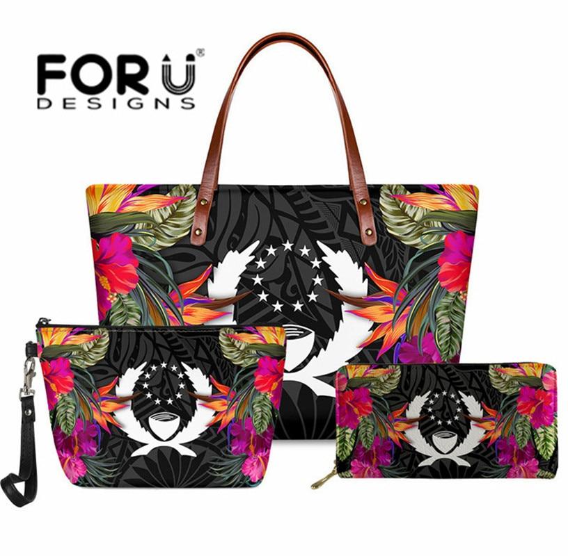 3pcs Set Women Handbag Wallet Pohnpei with Hibiscus Female Shoulder Polynesian Tribal Printing Luxur