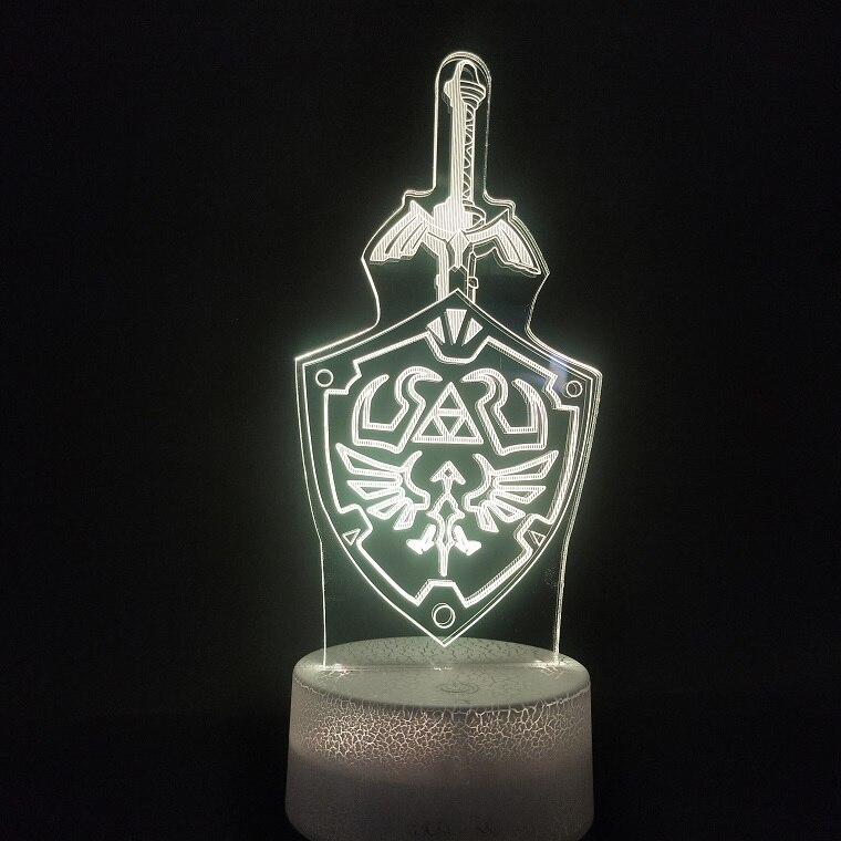 Lámpara 3D personalizada la leyenda de Zelda, el mejor regalo para bebé, 7 colores con Sensor de toque remoto para niños, lámpara de luz nocturna Led