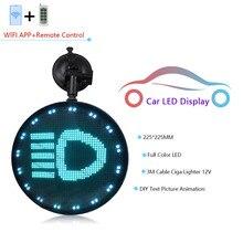 Pantalla LED de círculo mini para ventana de coche, pantalla LED de 225MM RGB a todo color con WIFI, cable de 12V 3M, encendedor y disco de suckion