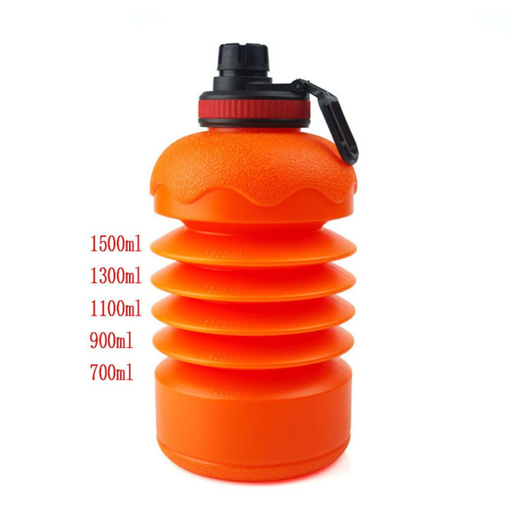 Garrafa de água portátil da grande capacidade do gym da garrafa de água de dobramento bpa da garrafa de água 2.2l 73 oz do esporte da aptidão com non-slip cover
