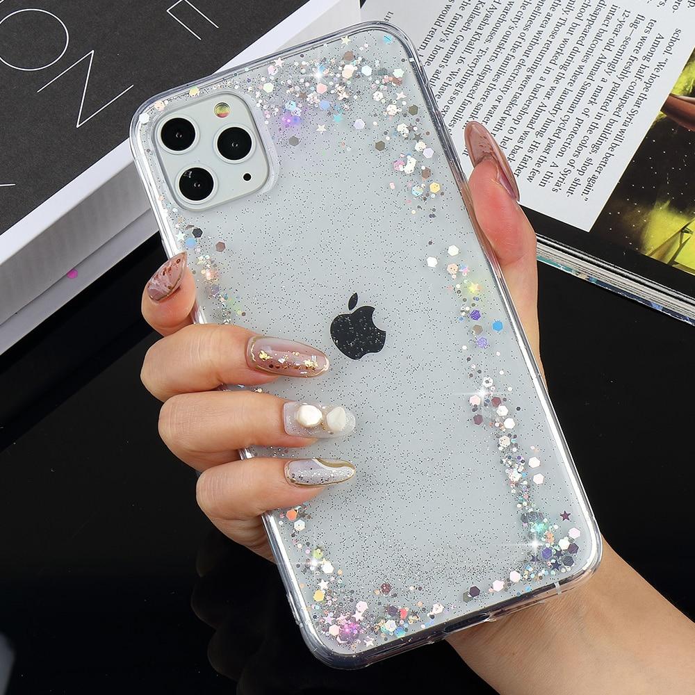 Блестящий силиконовый мягкий чехол для iPhone 11 Pro Max X Xr Xs Girl 7 Plus 8 6S 6 5