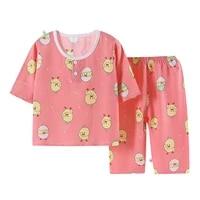 kids pajamas spring summer boys girls sleepwear sets infant cartoon prints home clothes sets kids cotton comfortable pajamas