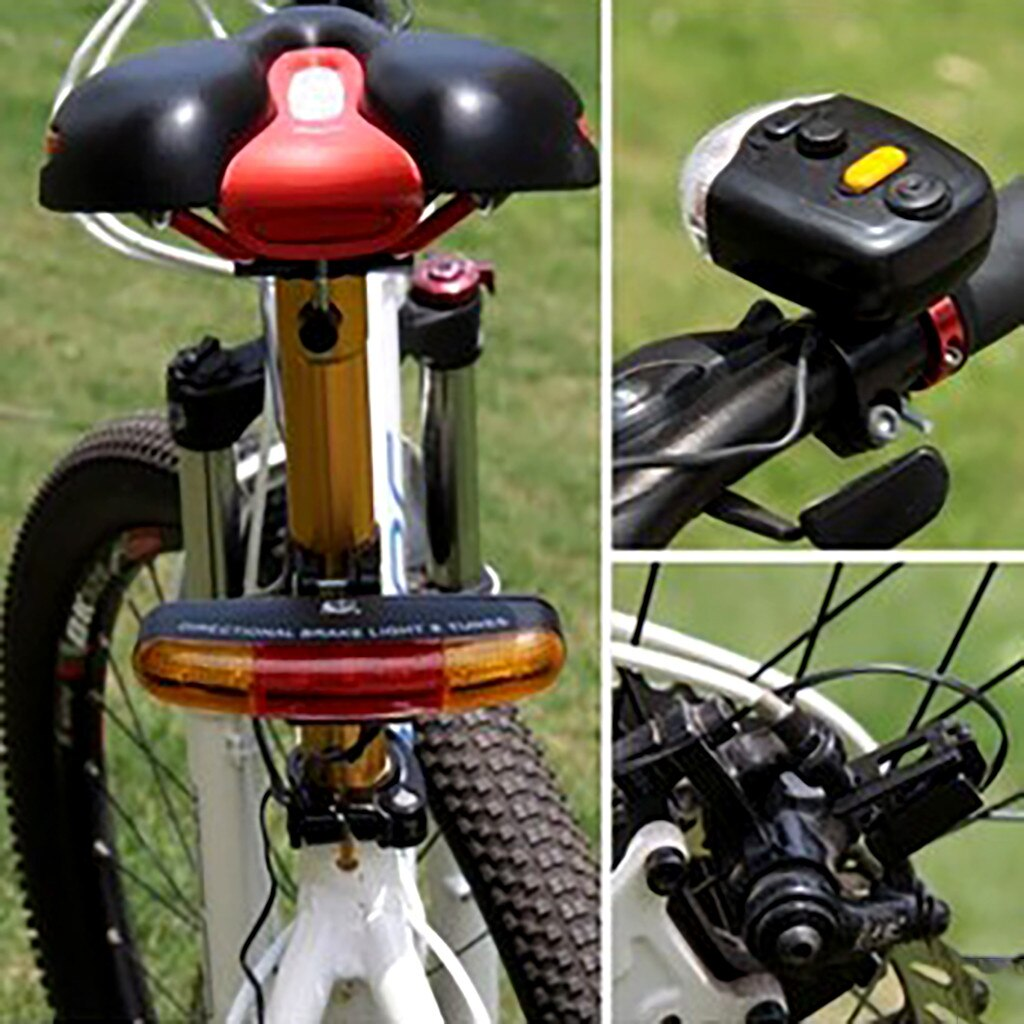 Outdoor Sport LED Bicycle Bike Turn Signal Directional Brake Light Lamp 8 sound Horn