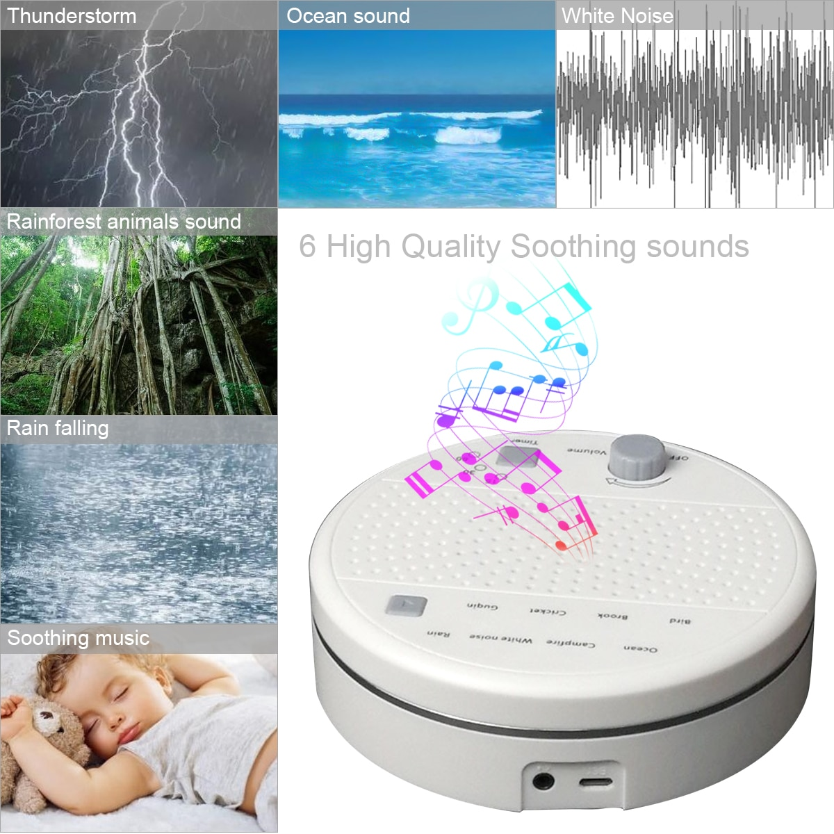 White Noise Machine Sleep Sound Machine For Sleeping Relaxation For for Light Sleeper Insomnia Anxiety Depression Stress Relief