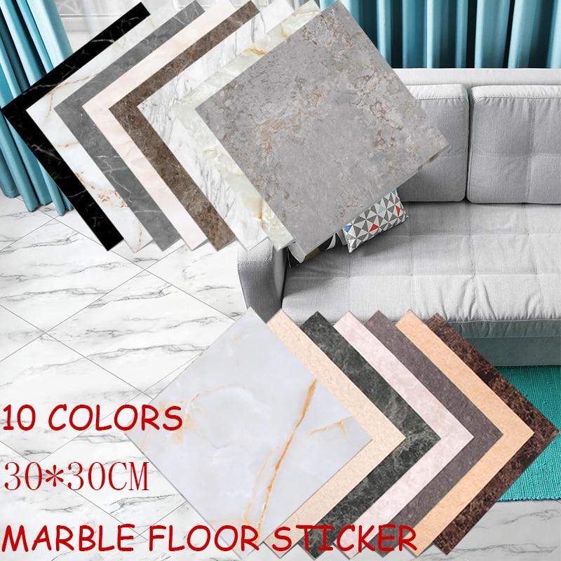 30x30 cm 3D Marble Pattern Non-slip Floor Stickers Waterproof Wallpaper Removable Bathroom Tile Decoration Decals Home Decor