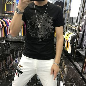 2021 New Fashion Men's T-Shirt Summer Modal Cotton Breathable Hot Diamond Lion Pattern Casual Fitness Black And White O-Neck Top