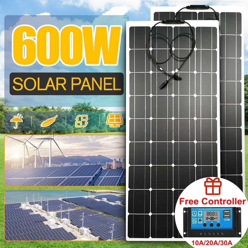 Solar Panel 18V 300W 600W PET Flexible Solar System Solar Panel Kit Complete RV Car Battery Solar Charger For Home Outdoor RV