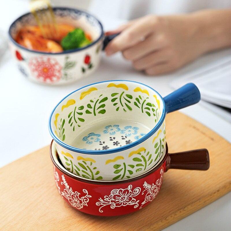 النمط الياباني وعاء بمقبض صغير واحد الطفل الإبداعية شخص واحد الغذاء لطيف السلطانية أدوات المائدة السيراميك المعكرونة الفورية LB42704