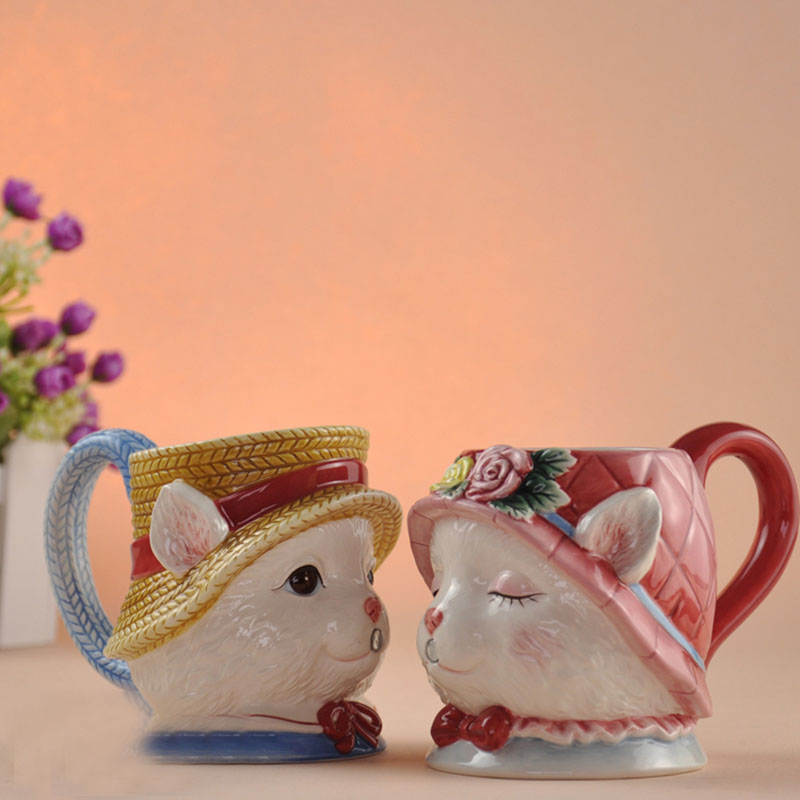 Creative Ceramic Couple Cup 3D Cartoon Mark Water Cup Valentine's Day Festival Gift A Pair of Cups Cute Cartoon Couple Coffee Cu enlarge