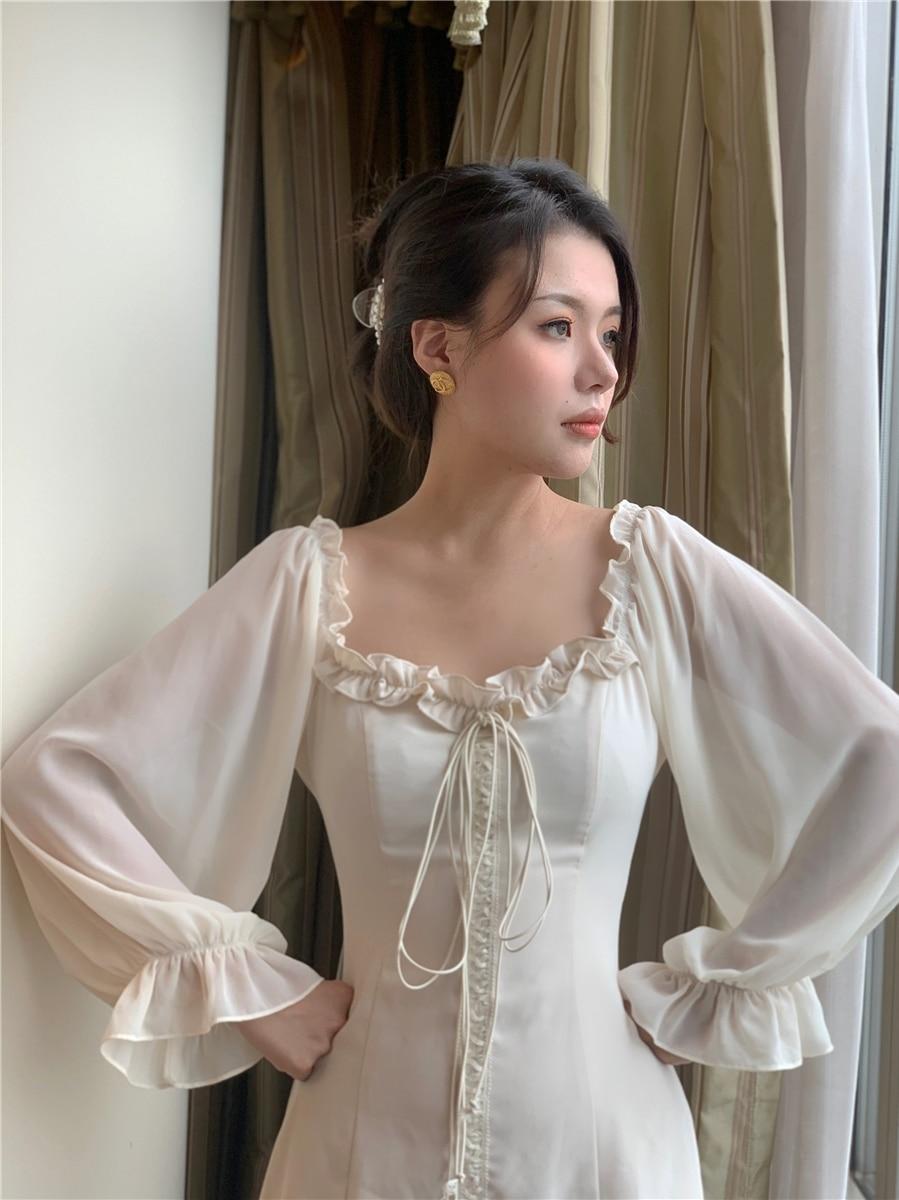 الفرنسية قبالة الكتف فستان أبيض أنيق 2020 الخريف النساء ضمادة الرجعية فستان حفلة صغيرة سيدة مصمم فستان النساء الملابس