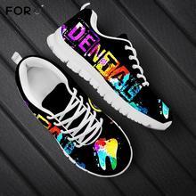 FORUDESIGNS 2020 nouveaux hommes occasionnels lacent chaussures plates baskets mignon dessin animé galaxie dentaire/dent/dentiste imprimer femmes chaussures marque chaussures