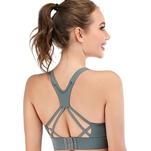 Push Up Sports Bra High Impact Workout Yoga Crop Tops For Women Gym Cross Back Nylon Mesh Wirefree Training Femme Gym Brassiere