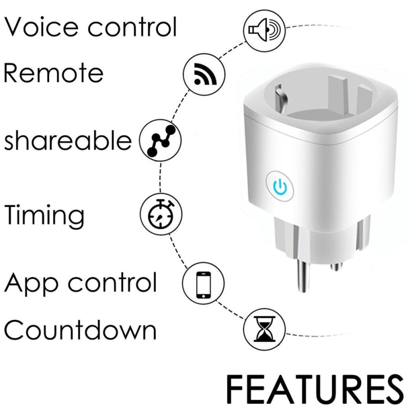16A WiFi Smart Plug Outlet Tuya Remote Control Home Appliances Works for Alexa Google Home No Hub Required Smart EU Plug Socket