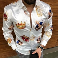 2021 new man clothing england style crown print shirt autumn nobility tide shirt mens single breasted long sleeve casual shirts