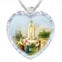 exquisite heart shaped crystal glass virgin prayer pendant necklace for women fashionable amulet jewelry chain necklace jewelry