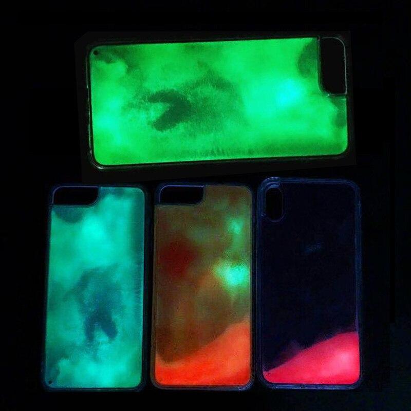 Luminous Neon Sand Case For iPhone 11 pro MAX XR XS Max 6 6S 7 8 Plus Glow In The Dark Liquid Glitter Quicksand Phone Cover Capa
