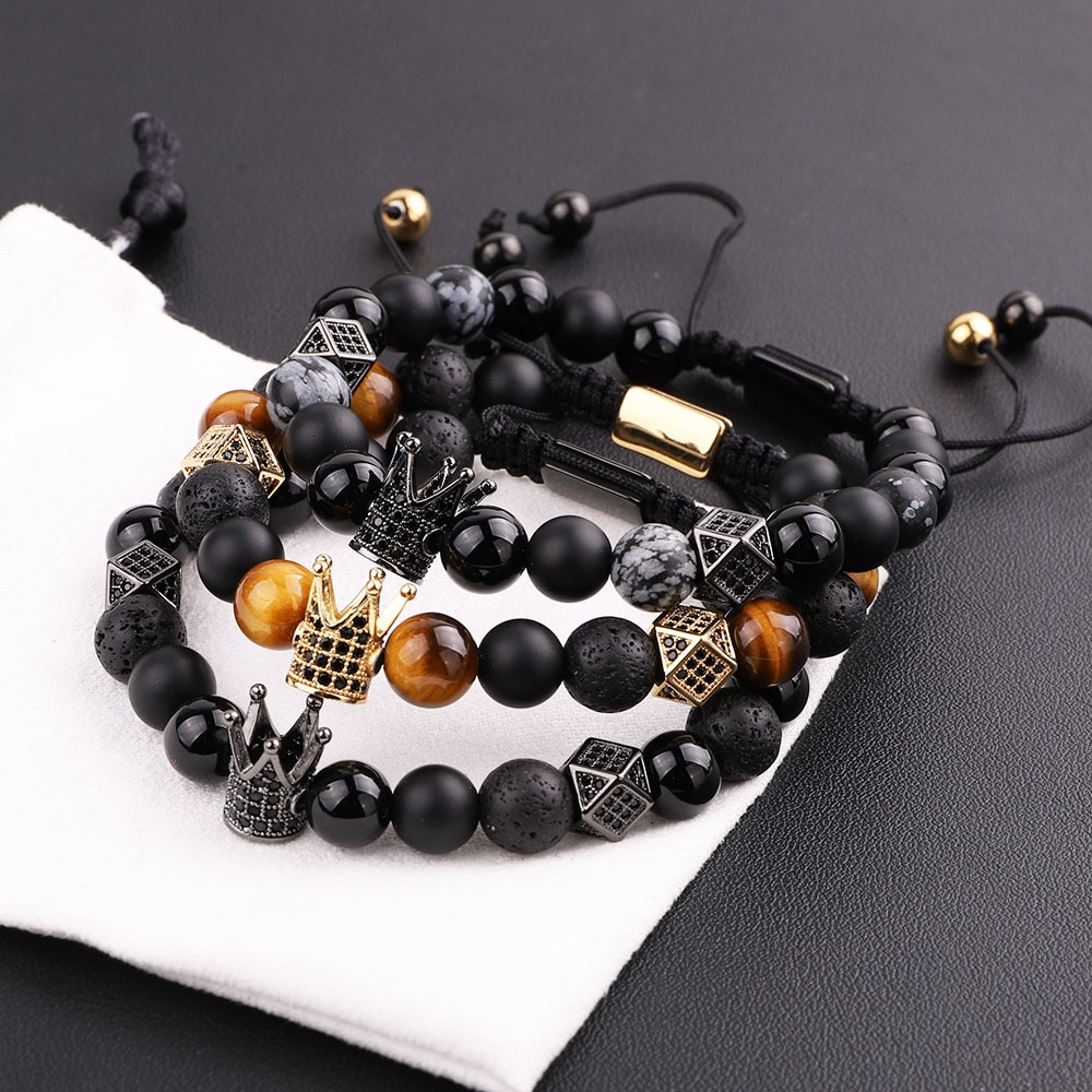 New Design Men Bracelet Natural Lava Stone Tiger Eye CZ Micro Pave Crown Friendship Macrame Adjustab