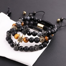 New Design Men Bracelet Natural Lava Stone Tiger Eye CZ Micro Pave Crown Friendship Macrame Adjustab