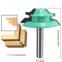 free shipping 1pc small lock miter router bit anti kickback 45 degree 14 6 35mm inch stock shank tenon cutter for woodworking
