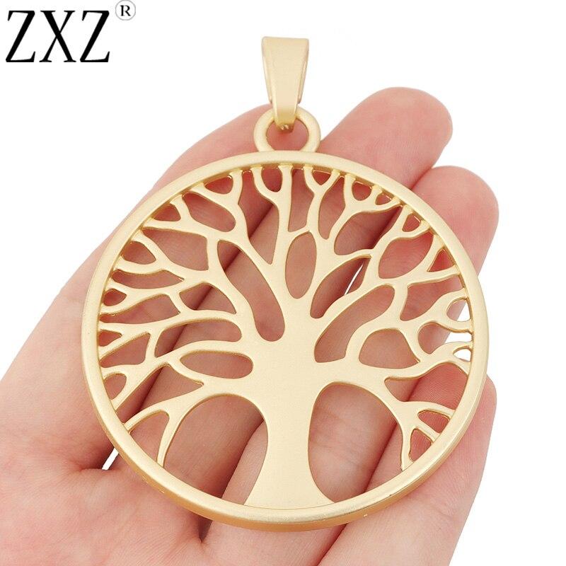ZXZ 2pcs Matte Ouro Grande Árvore Encantos Pingentes para Colar Jewelry Making Achados 60x60mm