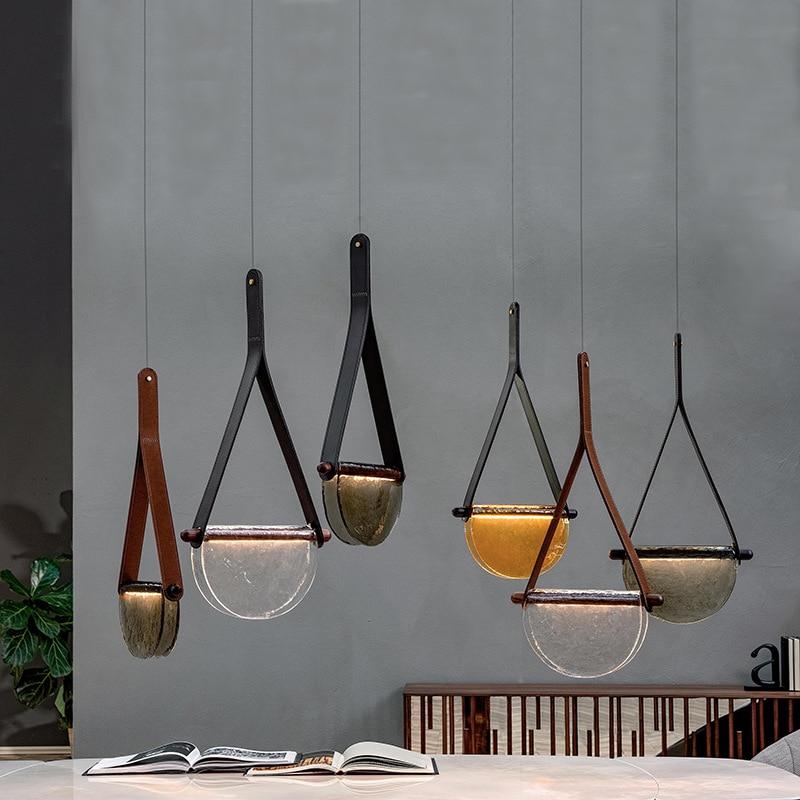 Кожаная стеклянная люстра ручной работы в скандинавском стиле, креативная лампа для столовой, гостиной, декоративная лампа для спальни, при...