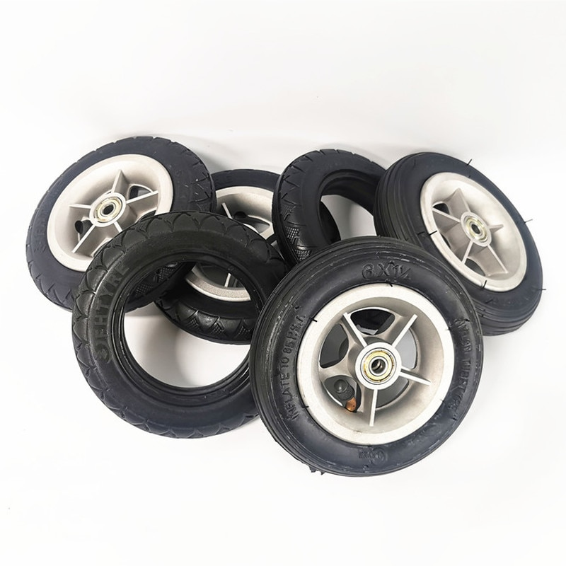 CD Accessories Folding Bicycle 6 tire 6X1 1/4 A-bike 6X1 1/4 Tire Inner and Outer Tire Solid Whole Wheel Front and Rear Hub usa canada drop shipping eunorau awd 48v250w 350w front and rear motor electric fat tire bike snow bike with 26x4 0 tire