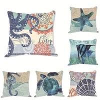 miracille sea turtle fish printed cushion covers for sofa animal pattern bedroom decorative throw pillowcase square pillow cover