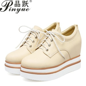 Patent Leather Women Height Increasing Shoes Round Toe Lace Up Thick Bottom Pumps Daily Simple Shoes Women Size 33-42