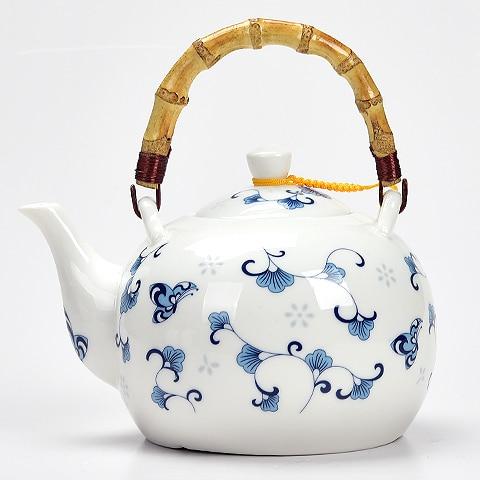 Ceramic teapot 1500ML , large capacity, blue and white porcelain, ceramic handmade teapot, glass tea pot, with filter недорого