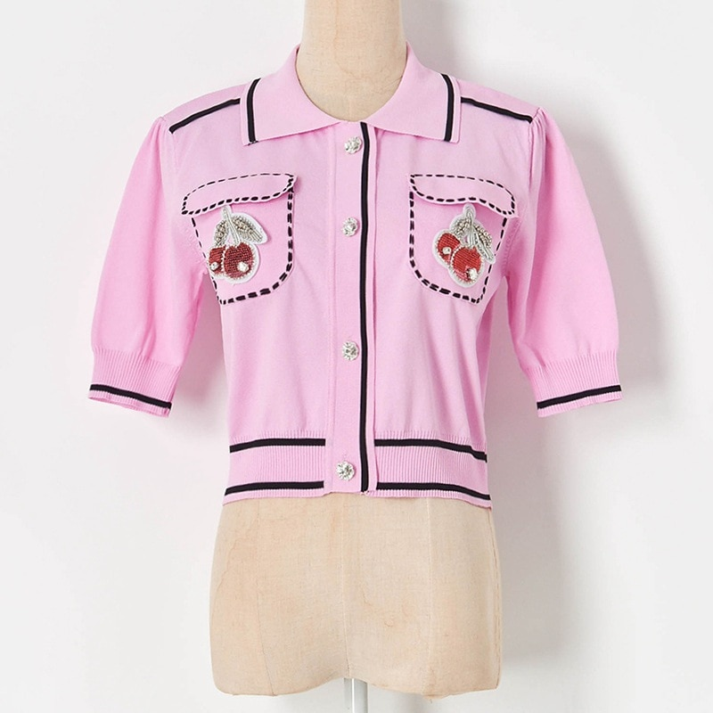 Women Crop Top Short Cardigan Women Summer 2021 New Lapel Cherry Beaded Pocket High Waist Sweater Shirt Thin Cropped Cardigan enlarge