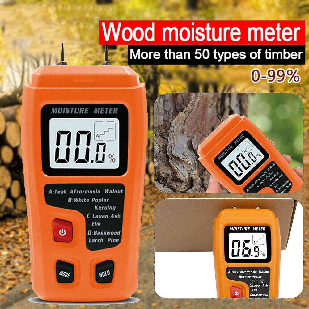 EMT01 Two Pins Digital Wood Moisture Meter 0-99.9% Wood Humidity Tester Timber Damp Detector with Large LCD Display digital wood moisture meter 7 categories of material moisture detection with lcd display backlight wood working tester