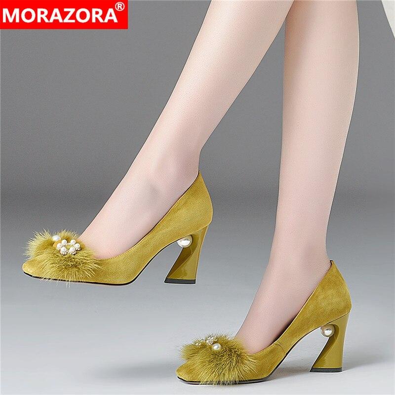 MORAZORA, verano 2020, zapatos de boda para fiesta, zapatos de tacón alto con punta cuadrada, zapatos de mujer de alta calidad, talla 33-43