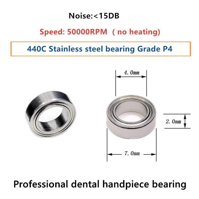 10 قطعة P4 الأسنان قبضة تحمل SMR74 4*7*2 مللي متر الفولاذ المقاوم للصدأ محامل 50000rpm لا التدفئة لآلة زرع 20:1