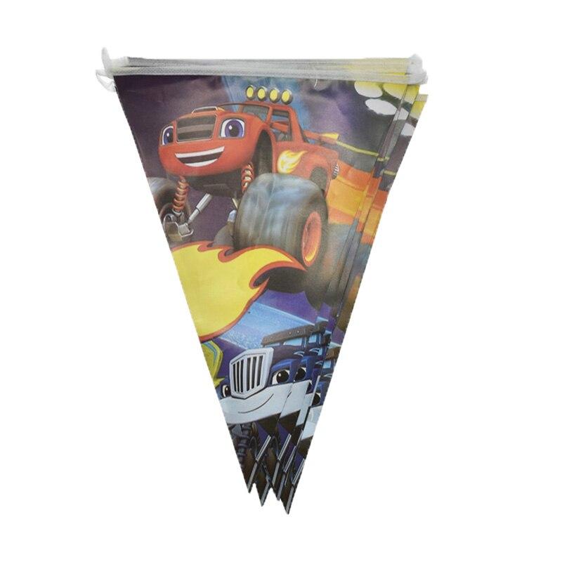 Feliz cumpleaños niños favores banderas Blaze Monster máquinas cartel temático decoraciones para baby shower fiesta eventos banderines 1 juego/paquete