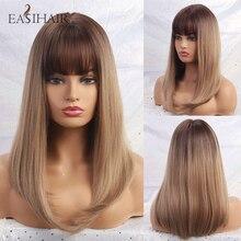 Easihair marrom ombre reta perucas com franja de comprimento médio perucas sintéticas para as mulheres natural peruca de cabelo cosplay perucas