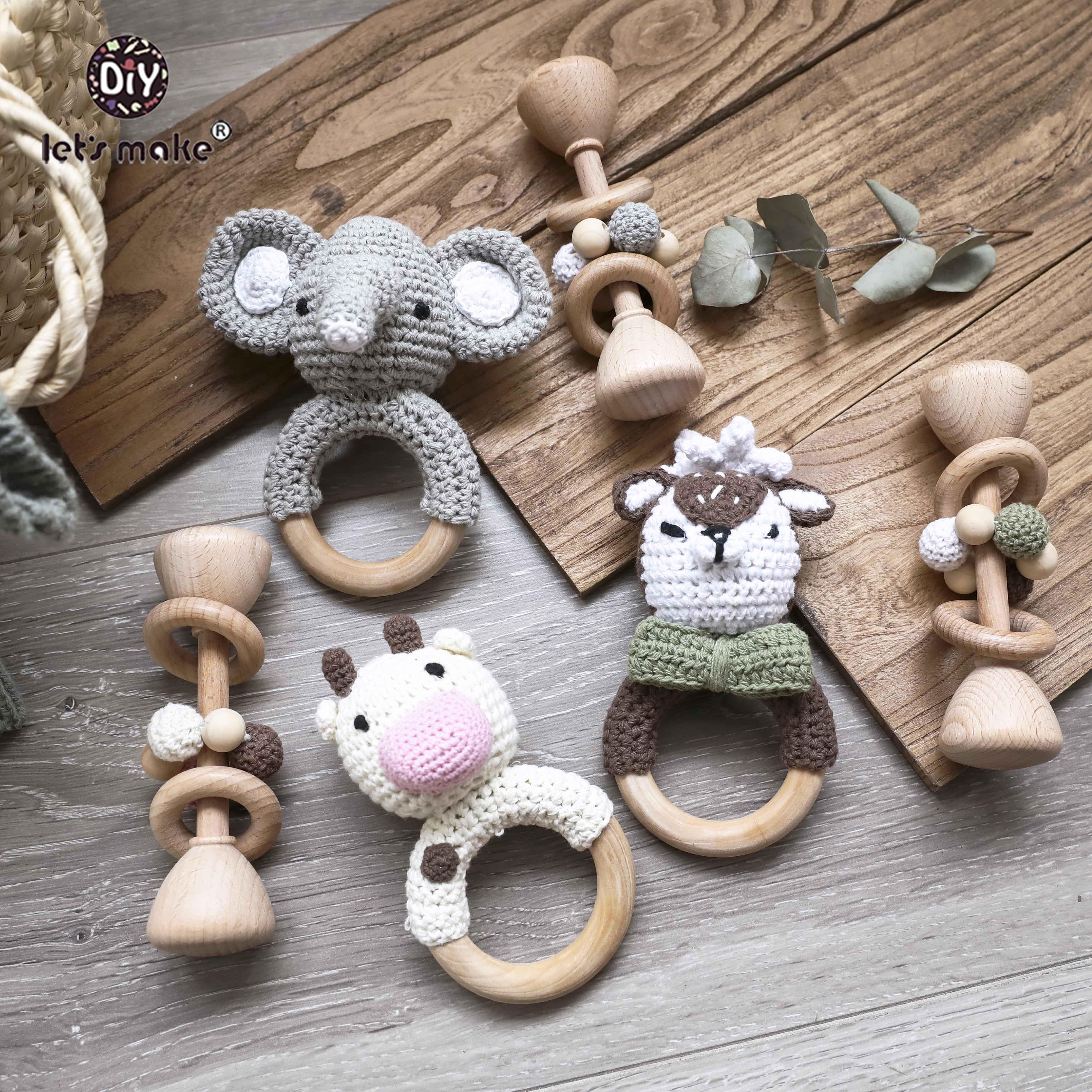 Набор деревянных игрушек Let's Make 2 шт., деревянные бусины, плетеные деревянные кольца, деревянные погремушки для животных, деревянные прорезы...