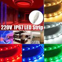 Светодиодная ленсветильник, водонепроницаемая, IP67, 3528 в, 220 светодиодов/м