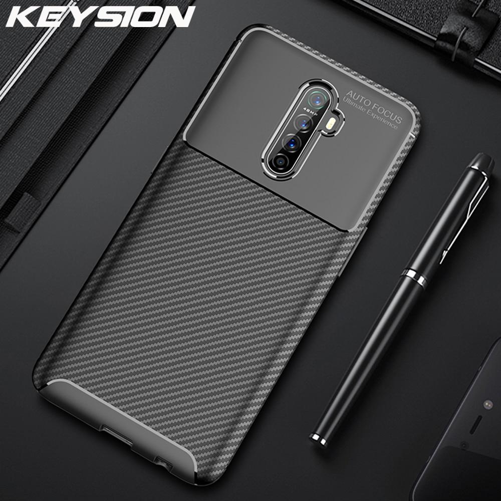 Keysion Shockproof Case Voor Realme X2 Pro Xt 5 Pro 3 Q C2 Siliconen Koolstofvezel Telefoon Cover Voor Oppo a5 A9 2020 Reno 2 Z F11 Pro