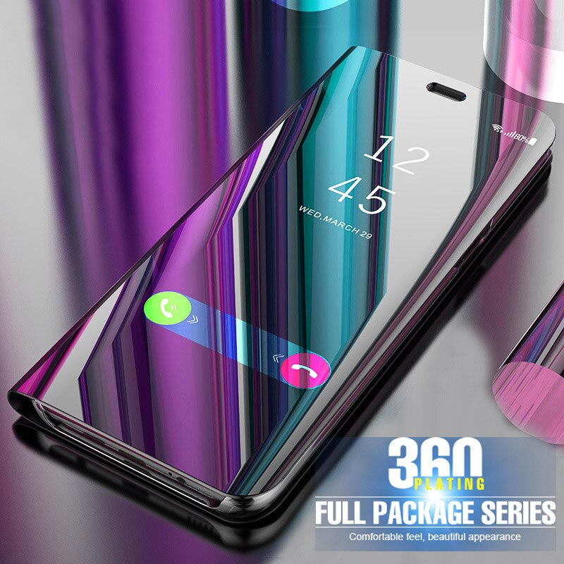Auroras For Realme C3 Case Stand Holder Flip Mirror View Case For Realme C3 Shockproof Mirror View Cover Funda
