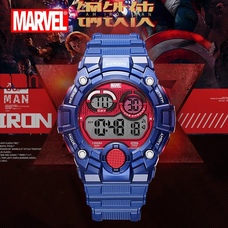 Original Marvel Spider-Man Watch 100m Waterproof Men's Sports Watch Personalized Digital Watch Mens Fashion Watches