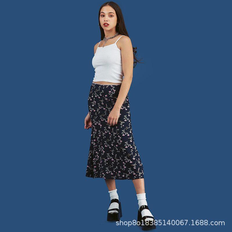 Vintage High Waist midi Skirts Women Streetwear Cotton Long Skirts Chic Vintage Style Ladies Summer Plaid skirts  2021