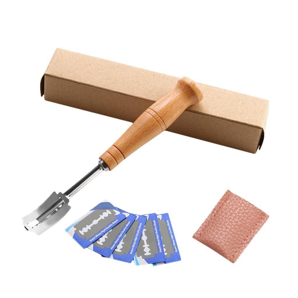 Нож для выпечки хлеба, инструмент для резки теста, бритва для выпечки, кухонные аксессуары, резак для теста, инструмент для хлеба с деревянной ручкой
