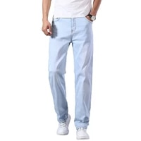 mens lightweight straight loose jeans 2021 springsummer brand high quality stretch comfortable thin casual jeans