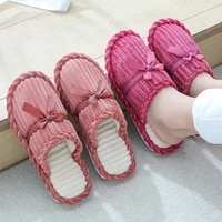 new style bowknot cotton slippers winter couples home non slip warm slippers flat shoes soft comfortable lady slippers