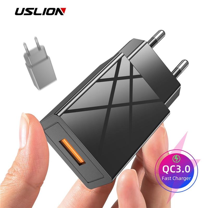 Cargador USB Universal de pared para teléfono móvil USLION, Cargador rápido para UE y EE. UU., adaptador de cargador USB QC3.0 para iPhone 11 y Samsung