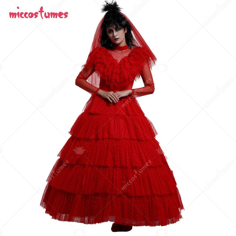 بيتلجوس ليديا ديتز القوطية نمط الزفاف الأحمر فستان تأثيري أزياء لحفلة الهالوين مع غطاء للرأس