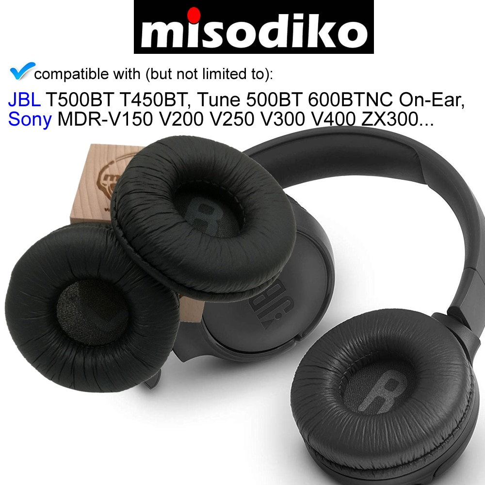 misodiko Replacement 70mm Cushions Ear Pads - for JBL T500BT T450BT Tune 500BT 600BTNC On-Ear/ Sony MDR-V150 V200 V250 V300 V400 enlarge