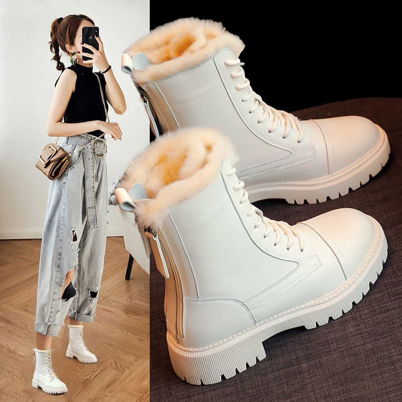 Middle Tube Martin Boots Women's Shoes New Autumn and Winter Shoes Wild Plus Velvet Thick Cotton Shoes Winter Boots Women'sBoots