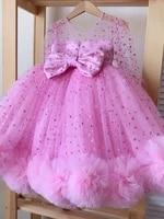 real picture long sleeve girls clothes beaded tulle big bow princess wedding party gown kids clothing size 1 14y